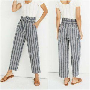 Madewell Paper-bag Pants  Deep Indigo Stripe Sz 18